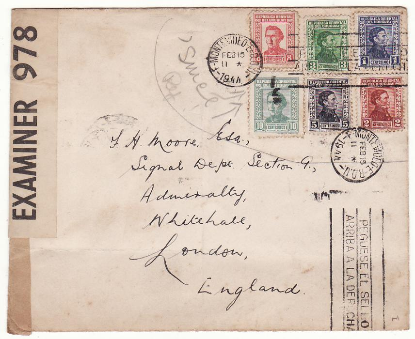 [20429]  URUGUAY - GB…WW2 CENSORED to SECTION G., ADMIRALTY ..  1944 (Feb 15)