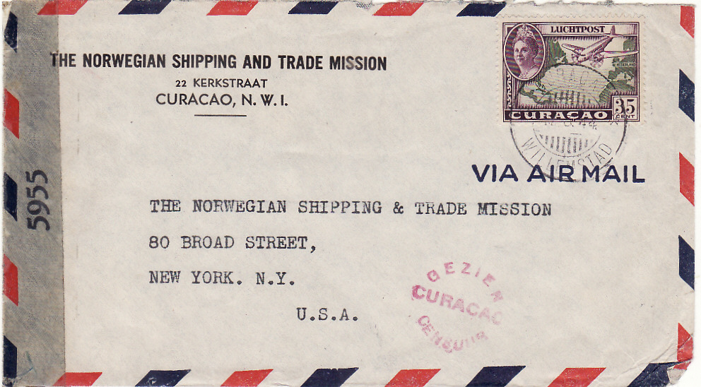 [20580]  NEDERLAND WEST INDIES - USA …NORWEGEN SHIPPING & TRADE MISSION..  1944 (Mar)